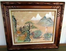 C K Tang Vintage Oil Painting On Canvas 16 x 20 Framed 24 x 28 Pagoda Bonsai