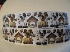 Grosgrain Ribbon Dogs Dog Houses Paw Prints Fur Babies Rescue Collars Tags 7/8""