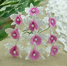 5 x WHITE & PINK ORCHIDS Mulberry Paper Flower Embellishments for Paper Crafts