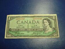 1954 - Canadian $1 bill - one dollar note - BN1889740