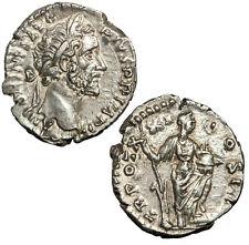 Silver denarius of Antoninus Pius.  Annona with foot on prow.