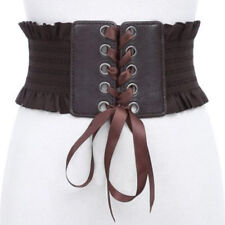 Women Fashion Punk Rivet Buckle Stretch Waistband Corset Wide Elastic Waist Belt