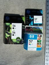 HP 4 INK CARTRIDGES 2-TRICOLOR 57 & 2-BLACK 56 3 are IOB ALL EXPIRED 2007 & 2015