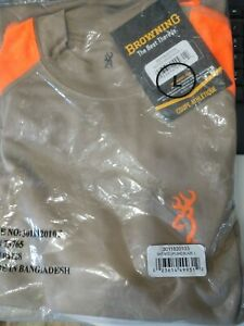 BROWNING NTS UPLAND TAN/BLAZE SHIRT LG #30118201 NEW!