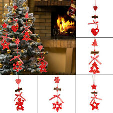 Wooden Christmas Tree Long Pendant Festival Red Multi-style Crafts Supplies