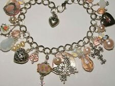 Vintage Charm Bracelet, one of a kind,Pink,Opaline Crystals,Tibet Silver,Pearls