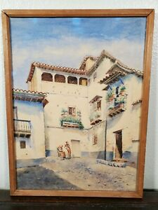 Antique Spanish Village Watercolor Painting 19th C. Granada SPAIN 1800s LISTED