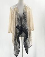 Chicos Travelers Size M Cardigan Kimono Jacket Open Front Black Cream 1 Lace