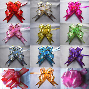 100 LARGE Ribbon Bows 30mm Party Decoration Assorted Colours Pull Flower Ribbons