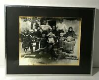 Antique Photograph Family of Twelve Professionally Framed