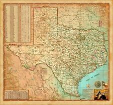 Antiqued Texas Wall Map