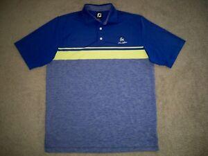 Men's FOOTJOY Golf Polo L ROYAL BLUE BLOCK w/Trim w/FJ & Golf ~ Poly/Spandex