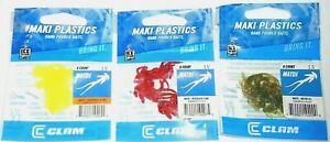 """Clam 1.5"""" Maki MATDI Ice Jig Trailers (Lot of 3-Best Colors-8 per pack)"""