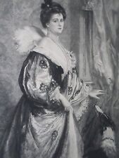 Gravure ancienne-Baschet-La dame au chien-gravé BURNEY-Sté Amis des Arts-finXIXe