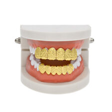 14K Premium Gold Plate Teeth Grillz With Ripple Patterns *BRAND NEW*