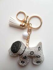 Dog Silver Key ring Women Diamante Handbag Charm Key Chain Gift Girl Key ring