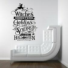 Halloween Witches Monsters Spooky Vinyl Decal Stickers Shop Window Wall Decor