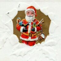 1914 Santa with Antique Toys Art A Merry Christmas Embossed Postcard BX