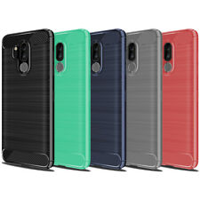 For LG G7 ThinQ Luxury ShockProof TPU Rugged Gel Case Skin Cover Carbon Fiber