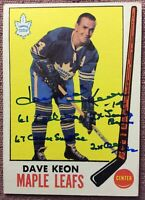 SINGED 1969-70 Topps #51 DAVE KEON W/ STAMP-4 INSCRIPTIONS~**NM** *NO CREASES*