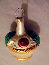 "Fruit Basket Ornament, Czechoslovakia, 2.25"" Tall 1.75"" Across Vintage"