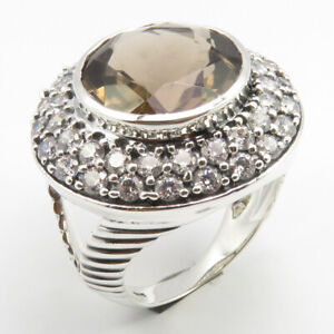 GORGEOUS 925 Solid Silver Ring Sz 8 Real SMOKY QUARTZ Stone 13.3 Grams Proposal