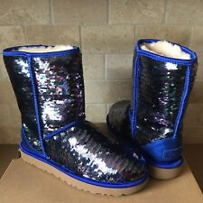 UGG Classic Short Navy Blue Sparkles Sequin Sheepskin Boots Size US 8 Womens