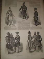 Disfraces de invierno del ejército de las tropas británicas en Canadá 1849 impresiones y artículo