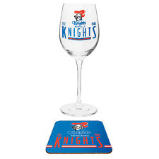 Newcastle Knights NRL Wine Champagne Drink Glass & Cork Coaster Mothers Gift