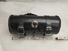 Leather Tool Roll Fork Bag Harley Honda Motorcycle 11x5 Lace Concho VTX Sportste