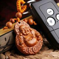 HB- Peachwood Keychain Lucky Laughing Buddha Pendant Key Ring Ornament Gift USA