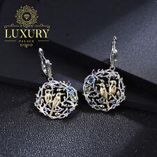 Natural Multi Gemstones Handmade Sterling Silver Bird Clip Earrings for Women