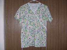 ladies size (M) sierra scrubs short sleeve green floral scrub top