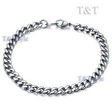 Steel Curb Chain Bracelet (Cb26) High Polished T&T 6mm 316L Stainless