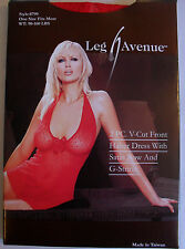 BEAUTIFUL RED LOW CUT WITH BOW CHEMISE MINI DRESS G-STRING 8 10 LEG AVENUE 8799