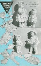 """VINTAGE KNIT PATTERN  COPY - TO KNIT 7 & 10"""" BOYS & GIRLS OUTFITS  - 1950's"""