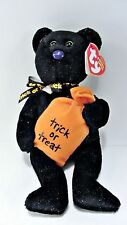 "Black Halloween TRICKSTER TY BEAR - candy bag - Beanie Babies - approx 8"" NWT"