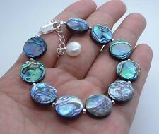 Beautiful Smooth Paua Abalone Shell Sterling Silver Bracelet A1001