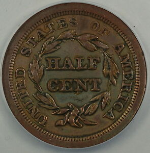 1851 Half 1/2 Cent, ANACS AU-50 Details, Scratched - Cleaned - Glue Residue, AKR