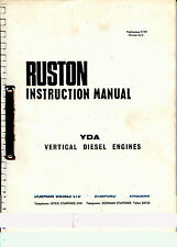 Ruston YDA vertical high speed diesel engine instruction manual poor photocopy
