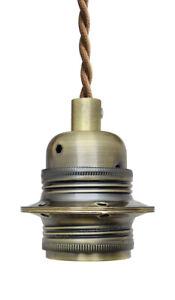 Ceiling Rose Pendant Fabric Flex ANTIQUE BRASS Hanging Lamp Holder Kit M007HLDER