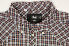 Dolce & Gabbana Mens Shirt 18 Brad Blue Green Red Plaid Button Down Collar