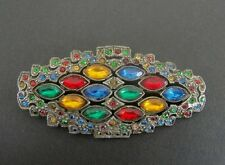 Silver Plate Brooch Pin Old Vintage Multi Color Stones