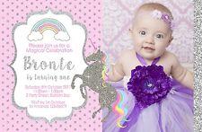 Personalised Unicorn Silver Gold Birthday Invitations 1st 2nd Photo invites