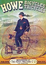 "TARGA VINTAGE ""1890 HOWE TRICYCLES"" PUBBLICITA' STORICA, ADVERTISING,POSTER,BICI"