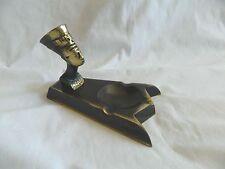 """Egyptian Brass Oxidized Queen Nefertiti Ashtray Incense Burner 3.5"""" Unique"""
