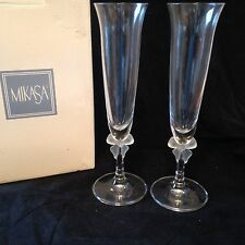 """MIB 9 1/4"""" Champagne Flutes FOREVER Mikasa Germany Frosted Ribbon Stem Wedding"""