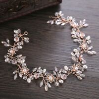 Bridal Hair Accessories Flower Rhinestone Crystal Pearls Rose Gold Vine Headband