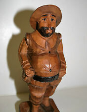 Vintage Black Forest Figurine Carved Wood Happy Man Statue Figure 7.8in