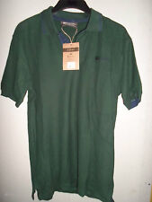 MENS MOUNTAIN WAREHOUSE BOTTLE GREEN WITH NAVY TRIM POLO SHIRT SIZE S NEW